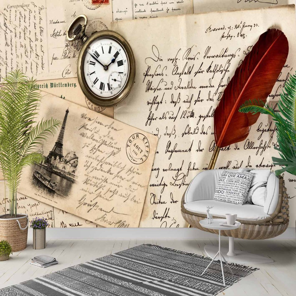 Else Vintage Writen Feather Letter Clock 3d Photo Cleanable Fabric Mural Home Decor Living Room Bedroom Background Wallpaper