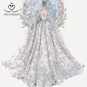 Image 4 - Swanskirt Vestido de boda personalizado 02 Sarahjah, apliques DZ, pelota personalizada, hecho en china, de talla grande, Vestido de novia