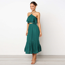 2019 New Arrival Summer Fashion Sling Wrapped Halter Womens Two-Piece Dress