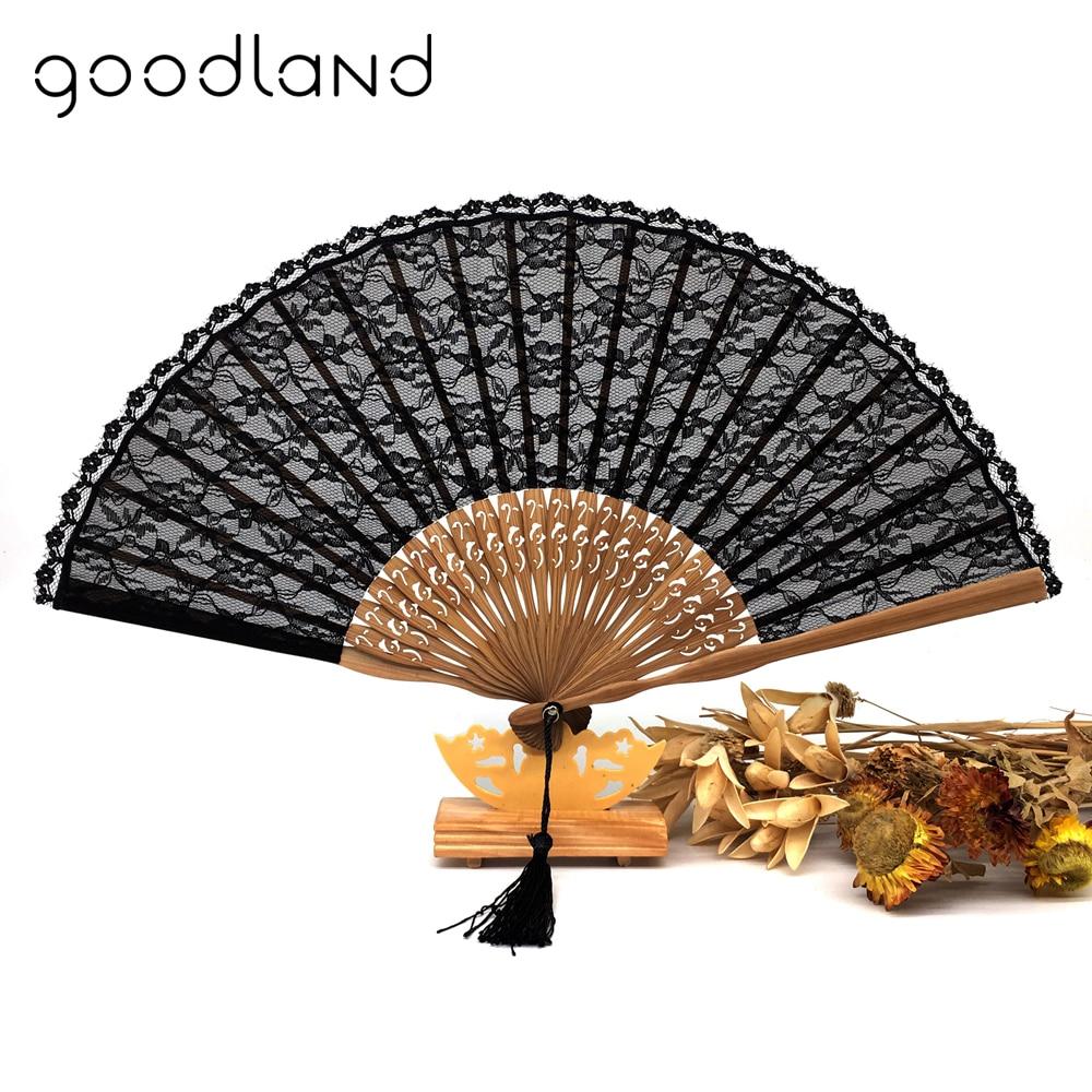 Free Shipping 1pcs Folding Black Lace Hand Fan Vintage Chinese Folding Bamboo Fan Home Decor Party Favor Decor