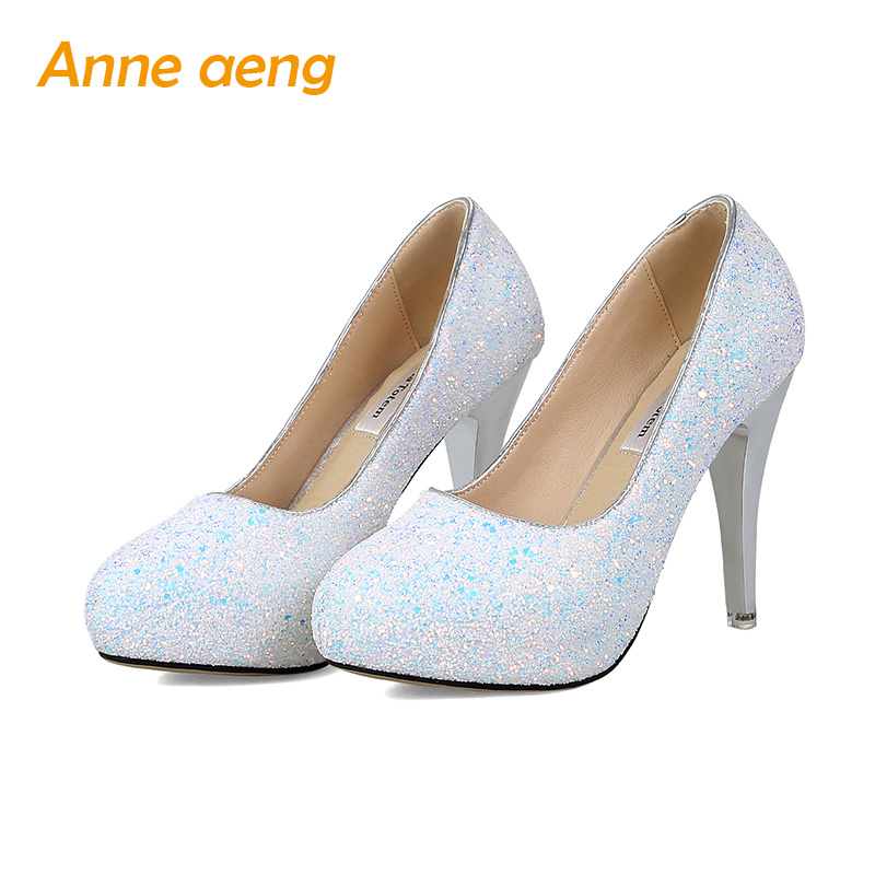 High Thin Heels Platform Wedding Shoes Pointed toe Pumps Woman Crystal Mary Bride shoes shallow evening Party Women shoes
