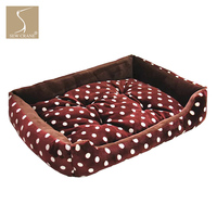 SewCrane Pet Bed Brown Short Plush Polka Dots Dog Bed Puppy Nest Cat Sleeping Basket