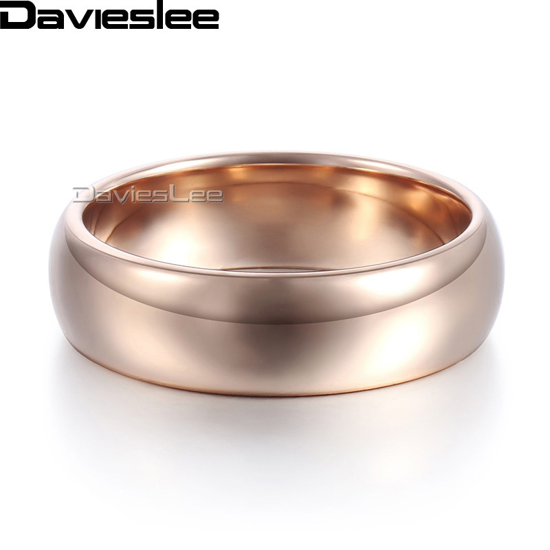 Davieslee Polished Band Ring Mens Boys Wedding Engagement Tungsten Carbide Rose Gold-color 6mm DTR27