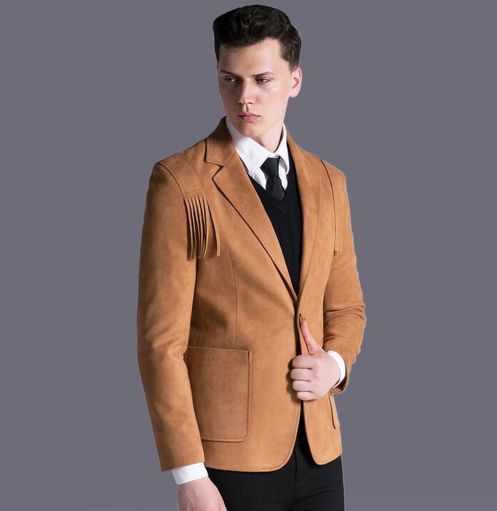 Suede jackets men coats 2018 autumn winter new A buckle tassel casaco overcoat slim jaqu ...