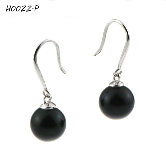 P Handpicked Black Freshwater Round Cultured Pearl Earring Pair For Women