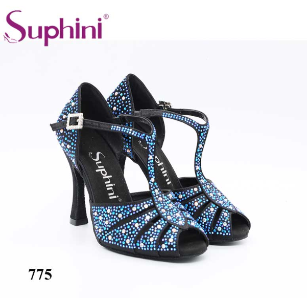 Free Shipping Social Dance Shoes Suphini Latin Dance Shoes Black Sparkle Glitter With Blue Rhinstones Salsa Shoes