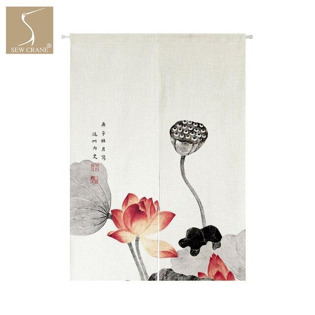 Sewcrane Lotus Flower Plants Japanese Home Restaurant Door Curtain