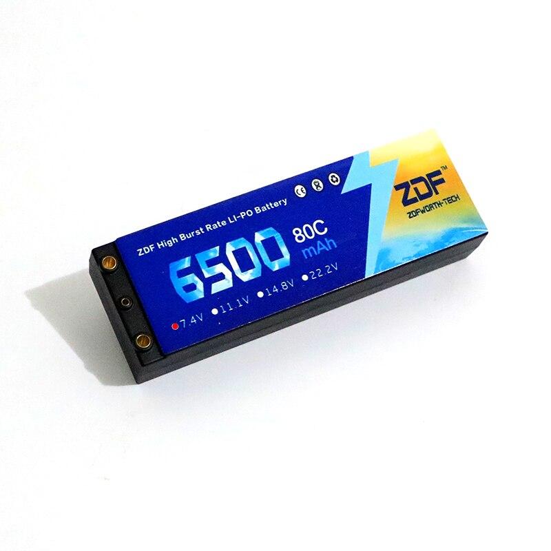 2 pcs ZDF Lipo Batterij 2 S 6500 mAh Lipo 7.4 V Batterij Deans Plug 80C 160C 1/8 Schaal voor Traxxas Slash 4x4 RC Auto - 5