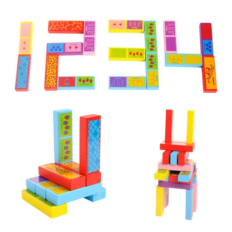 52 шт. 3 в 1 Деревянные Блоки Строительство башни игрушка домино укладчик семейная настольная игра/вечерние забавные экстракт строительные блоки