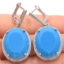 Elegant Big Drop Tanzanite, White CZ Ladies Engagement Party Gift 925 Silver Earrings 50x22mm