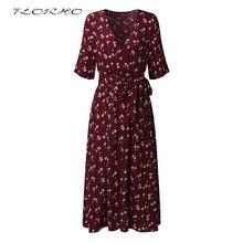 Бренд Для женщин миди платье 2018 Лето Boho Цветочный принт туники рубашка Платья для женщин короткий рукав поясом элегантный Вечеринка Vestidos 3XL