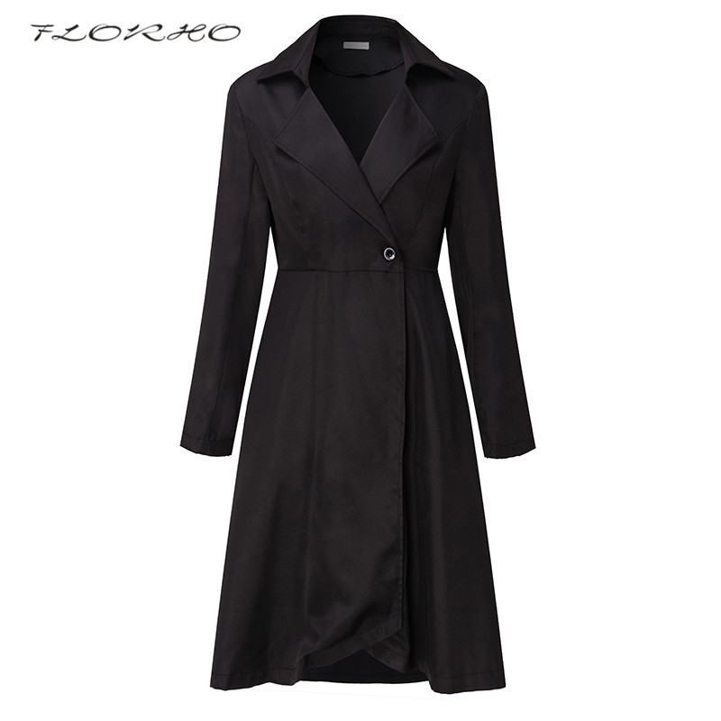 2018 Women Autumn Winter Trench Coat Dress Plus Size Fashion Turn Down Collar Long Sleeve Office Work Wrapped Windbreaker Coats