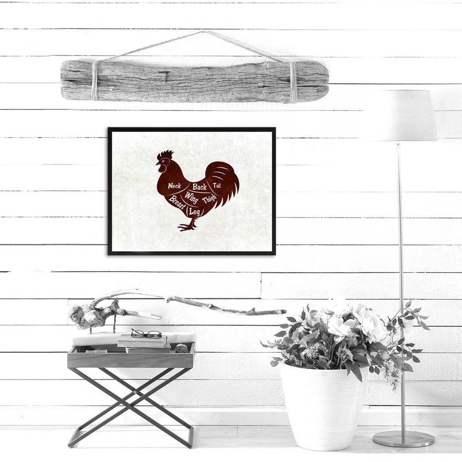 Vintage Chicken Meat Cuts Butchers Kitchen Wall Art Canvas Print Animals Picture and Posters Gifts Dining Room Home Decoration in Painting Calligraphy from Home Garden