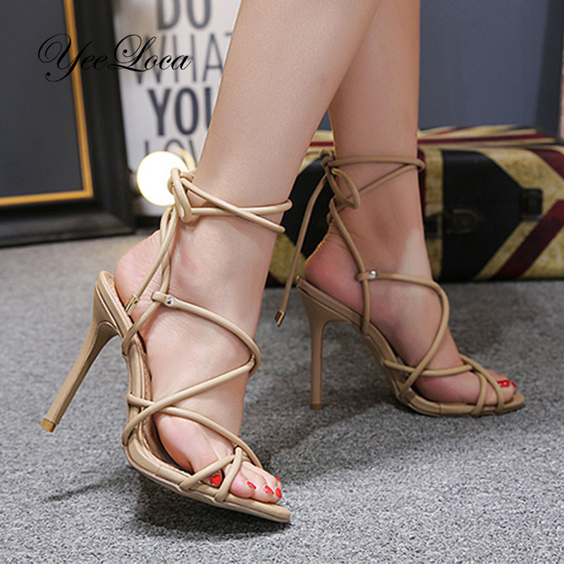 Women's Gladiator Crisscross Lace Up Stiletto Sandals Open Toe Ankle Wrap Around Open Back High Heels Bridal Evening Dress Shoes lace yoke frill trim open back dress