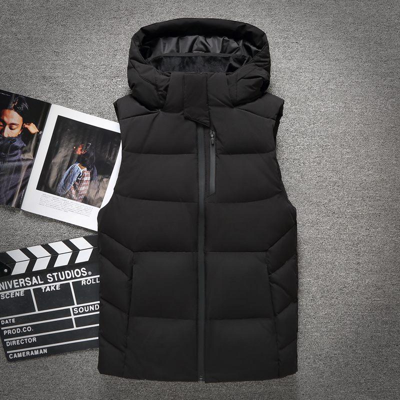 Edler Schmuck Herren Winter 90% Weiße Ente Unten Weste Männlichen Abnehmbaren Haube Mode Unten Weste Männer Qualität Ärmellose Jacke Oberbekleidung Vt-806 Elegante Form
