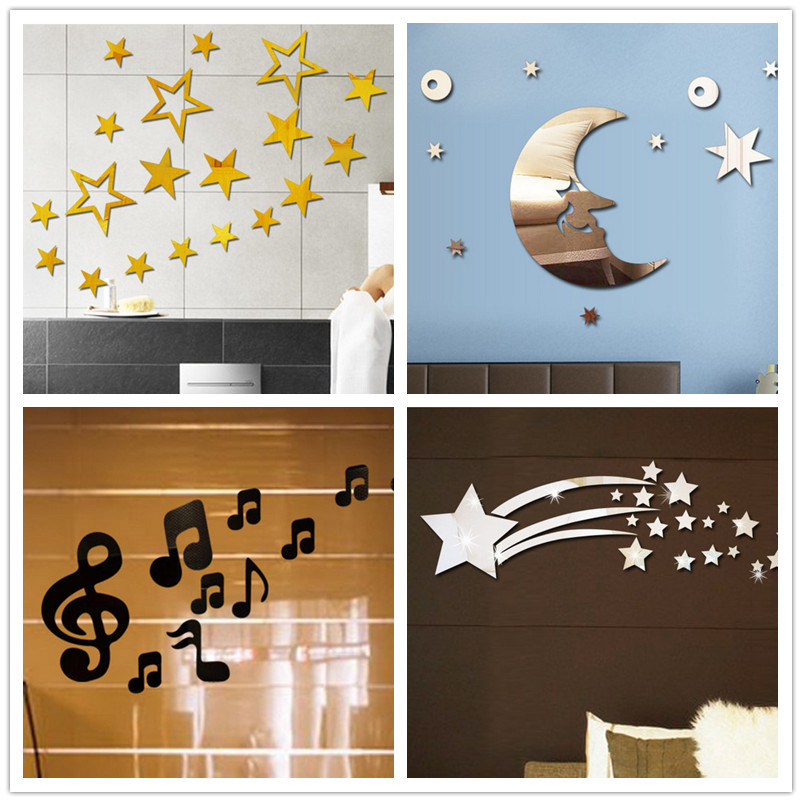 Star Moon Meteor Crystal Acrylic Mirror Decorative Sticker 3D Wall Sticker Wall Decal Home Decol Home Decoration Bathroom Shower