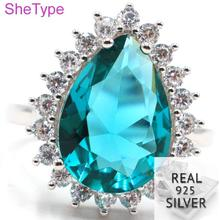 4.13g Real 925 Solid Sterling Silver Drop Shape Blue Aquamarine White CZ Ladies Ring 19x16mm