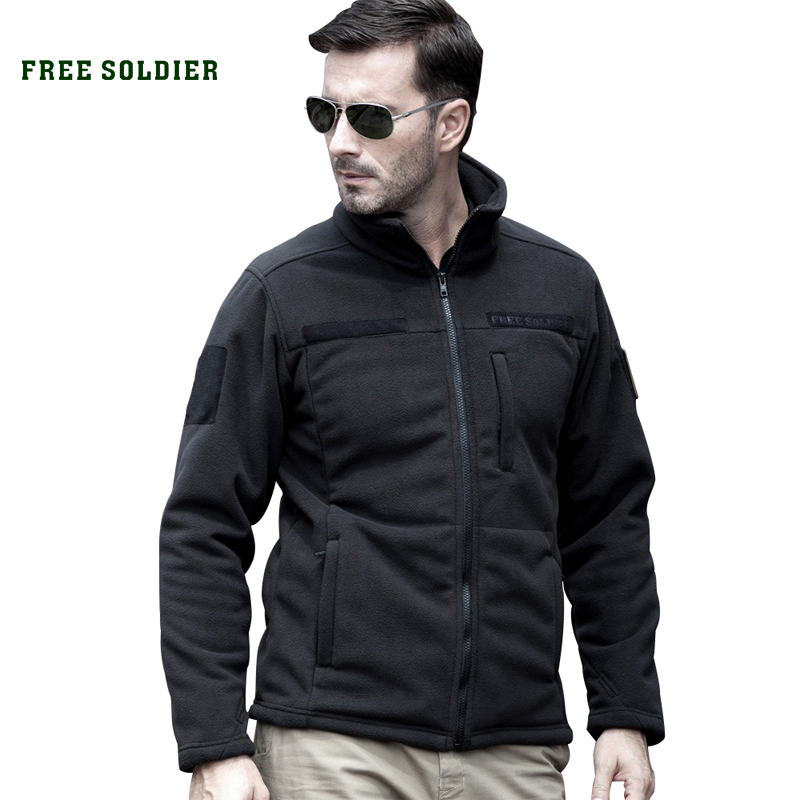 FREE SOLDIER Outdoor Tactical Military Men's Fleece For Camping Hiking Man Warm Jacket fleece lined jacket with epaulet