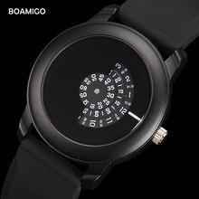 BOAMIGO Moda Casual relógios de Pulso de Borracha Preta Portátil Simples dos homens Relógios Movimento Quartz Dial Criativo Unisex Melhores Presentes