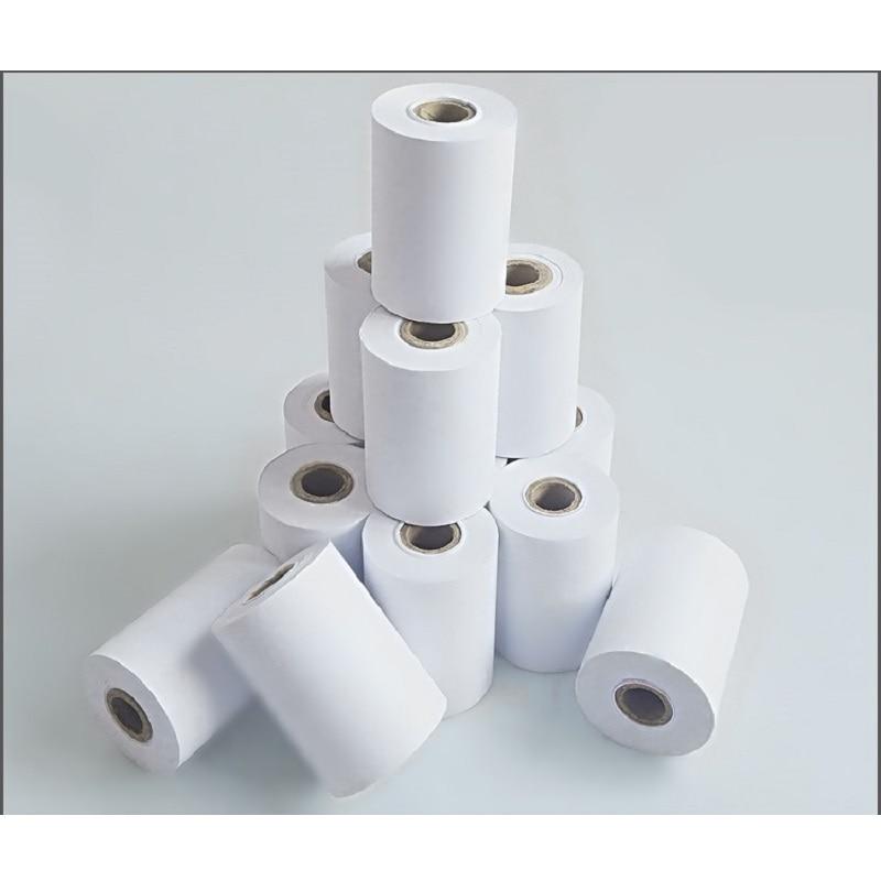 Купить с кэшбэком 1rolls/lot 75x60mm single layer  POS cash register paper 1 layer carbonless paper roll for 70*60 Needle Cashier Paper