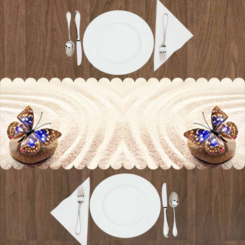 Else Tropical Yellow Beach Sand On Stone Blue Butterfly 3d Print Pattern Modern Table Runner  For Kitchen Dining Room Tablecloth