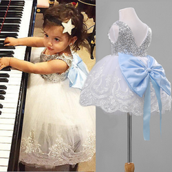 Princess Dress Baby Kids Girl Bowknot Sequined Lace Floral Tutu Dress Formal Party Bridesmaid Dresses Children Clothing