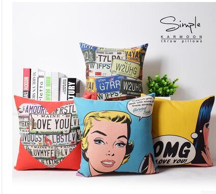 45x45cm Vintage Pop Art Style Marilyn Monroe cotton linen cushion covers lumbar pillowcase sofa decoration case for pillow cove