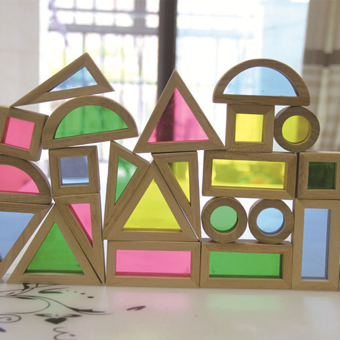 FZ-1 Creative Acrylic Rainbow Educational Toy Tower Pile of for Children Diy Wooden Assemblage Building Block baby intelligence wooden acrylic paint rainbow tower toy multicolored
