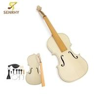 1set 4 4 Size DIY Natural Solid Wood Violin Fiddle Kit With Spruce Top Maple Back