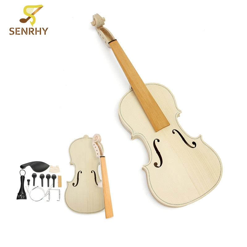 1set 4/4 Size DIY Natural Solid Wood Violin Fiddle Kit with Spruce Top Maple Back Fiddle For Beginner Musical Instruments Lover one red 4 string 4 4 violin electric violin acoustic violin maple wood spruce wood big jack color