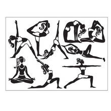 2016 New Fitness Wall Decal Girls Athlete Fitness Time Sticker Yoga Vinyl Decals Gym Art Mural Interior Design Living Room Decor