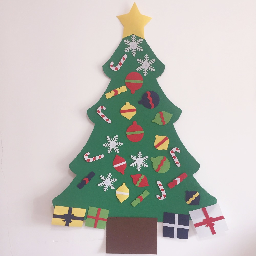 kids preschool craft diy felt christmas tree with ornaments children christmas gifts toddler door wall hanging xmas decoration in party diy decorations from - Felt Christmas Tree For Kids