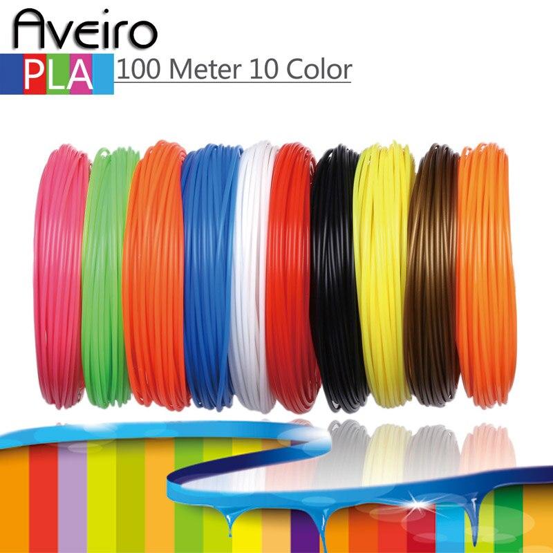 10 colores 100 metros 3D filamento de impresora PLA 1,75mm de plástico de material para 3D pluma de dibujo y de impresión de juguetes para regalos de los niños