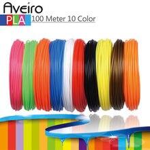 Material plástico do pla 100mm do filamento da impressora 3d de 10 cores 1.75 medidores para o desenho e impressão da pena 3d brinquedos para presentes das crianças