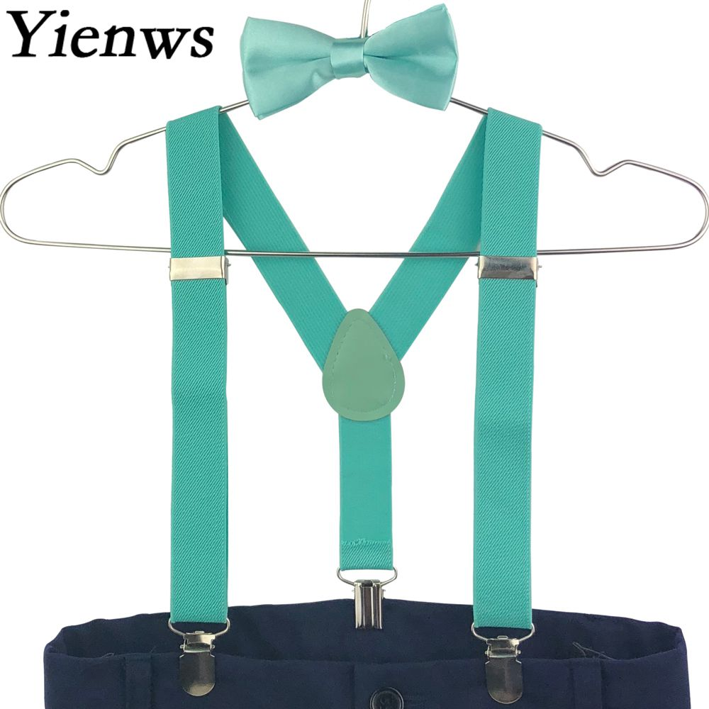 Yienws Baby Kids Suspenders Bow Tie Set Candy Color Butterfly Braces For Children Boys Girls Red Pink Szelki Dla Dzieci YiA093