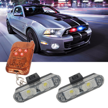 1Set DC 12V 2 LED Wireless Remote flash controller Car Truck Light Red and Blue Flashing strobe led Warning light цена