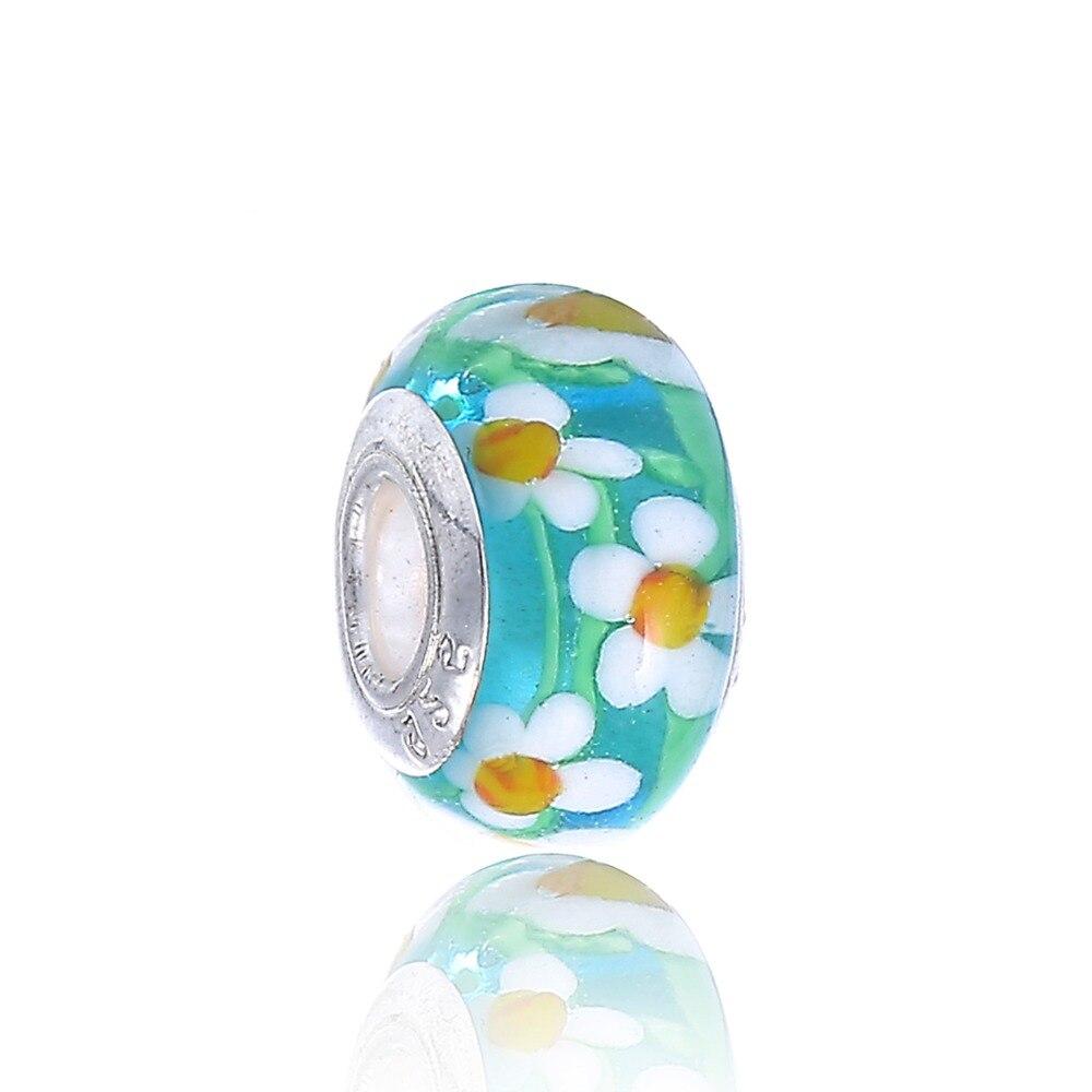 Green Flowers Series European Lampwork Murano Black Beads For Charms Pa Bracelet
