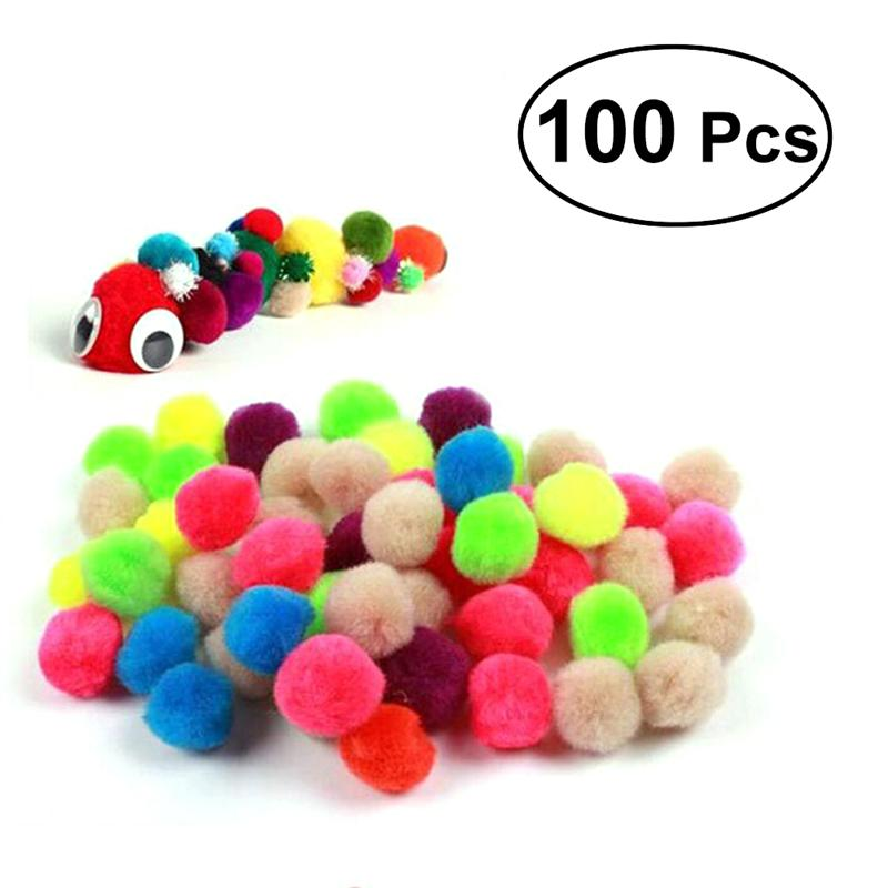 100pcs 25mm Assorted Pom Poms Fluffy Balls For DIY Creative Crafts Decorations (Mix Color)