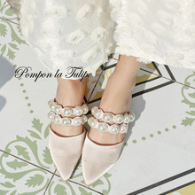 BHS 901185 Chic Silk Pearl 2.5CM Heels Mules Slipper Genuine Leather Stylish Sandals Sheepskin Fashion Women Shoes Party Wedding