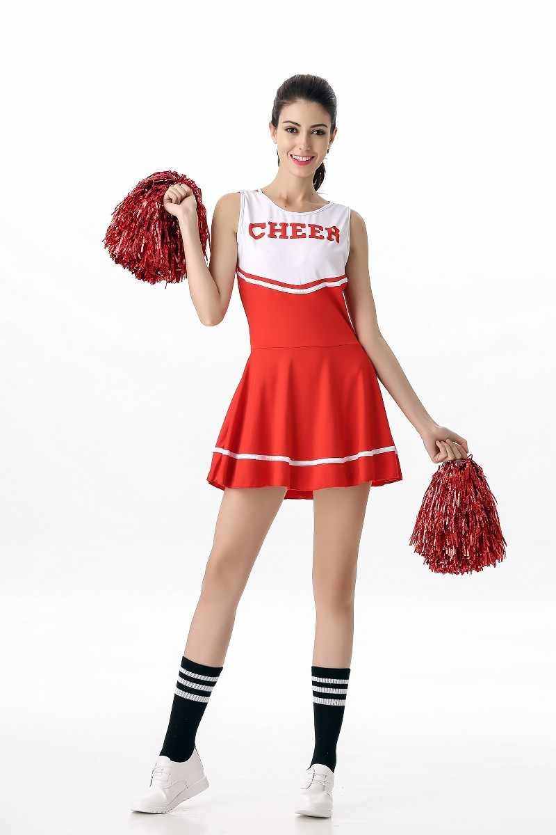 1a8876258f Sexy Basketball Baby Cheerleader With Pom Poms Costume School Girl Party  Dress