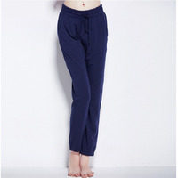 Women Pajama Pants Cotton Home Pants New Lace Up Full Lungth Royal Blue