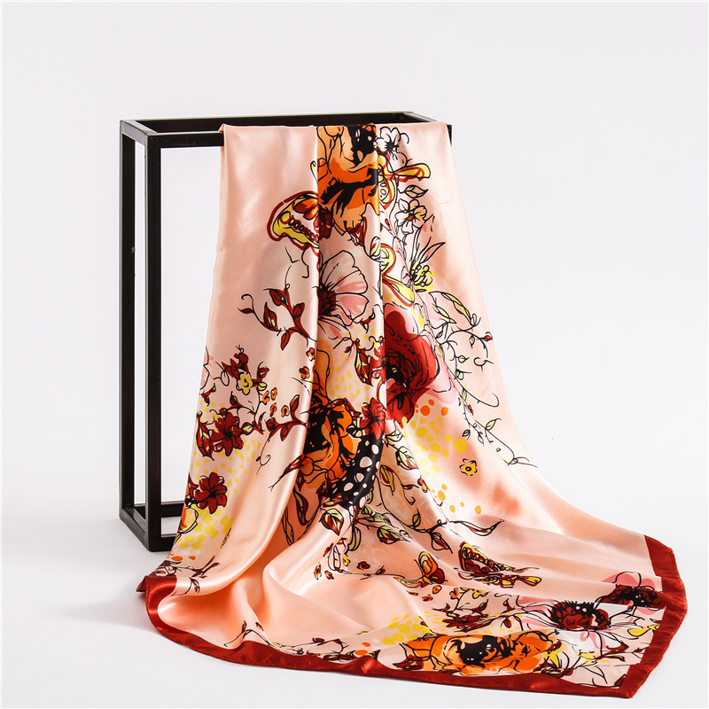 2018 luxury brand women silk feeling scarf square floral neack scarves Foulard head hijabs
