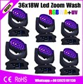 6 шт./лот Robe Robin 600 6в1 RGBWAUV 36x18 Вт LED Moving Head Wash Zoom