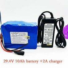 HK LiitoKala 24v 10ah 7S5P akumulator 15A BMS 250w 29.4V 10000mAh akumulator do wózka inwalidzkiego moc elektryczna + ładowarka 2A