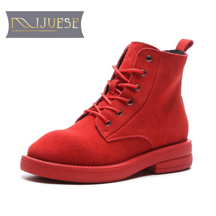 MLJUESE 2019 women ankle boots cow suede red color lace up round toe winter short plush low heel boots women martin boots round toe suede lace up mens boots