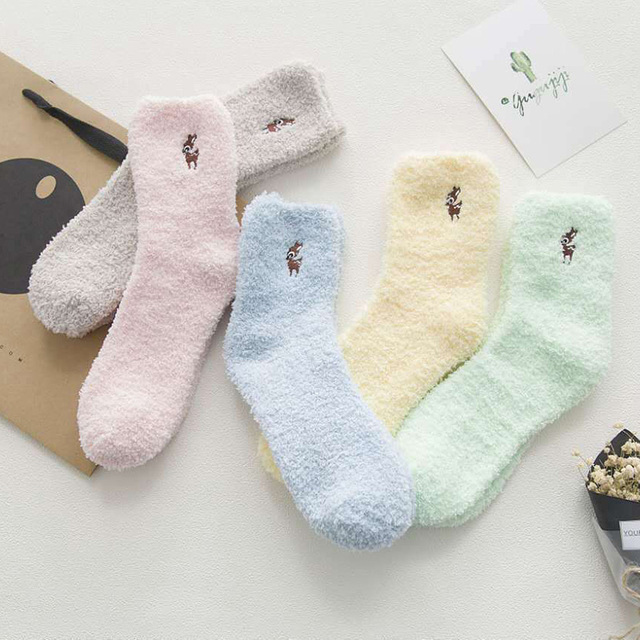 Làm dày Nữ Cotton Dễ Thương Sang Trọng Ấm Giấc Ngủ Dễ Thương Tất đàn hồi thông minh Mùa Đông Dài Tất Người Phụ Nữ Năm Mới nỉ mặc Giáng Sinh sock
