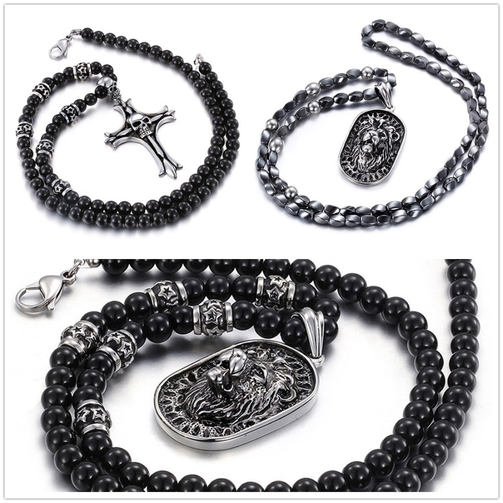 Mens Jewelry 316L Stainless Steel Silver Silver Cross Skeleton/Cool Lion Pendant Necklace Black Beads Fashion Stone Rosary Chain kcchstar cross style 316l stainless steel pendant necklace golden silver