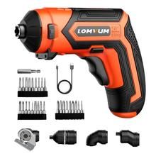 LOMVUM Cordless Electric 4V Lithium-Ion Screwdriver Multi-function Household Rechargeable Electric Drill Power Tools LED Light, lanneret 3 6v lithium ion cordless electric screwdriver household multifunction drill driver power gun tools led light bmc