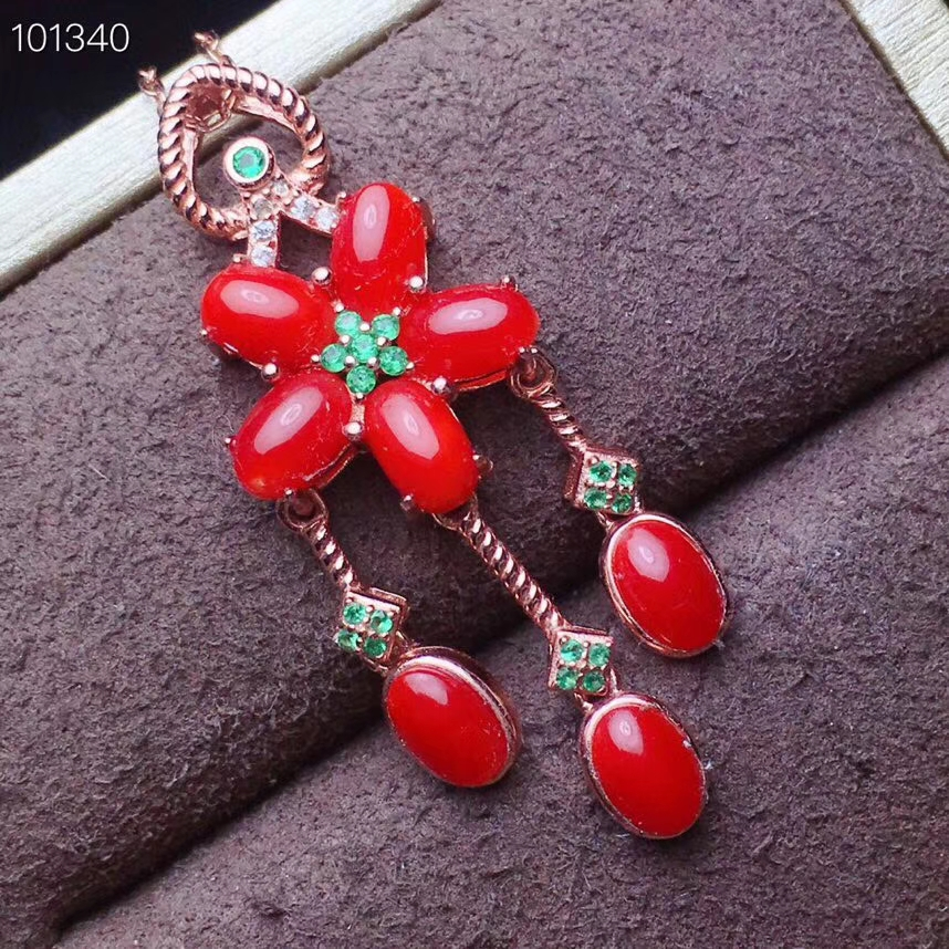 KJJEAXCMY boutique jewelry 925 pure silver inlaid natural Red Coral Pendant + Necklace support detectionKJJEAXCMY boutique jewelry 925 pure silver inlaid natural Red Coral Pendant + Necklace support detection