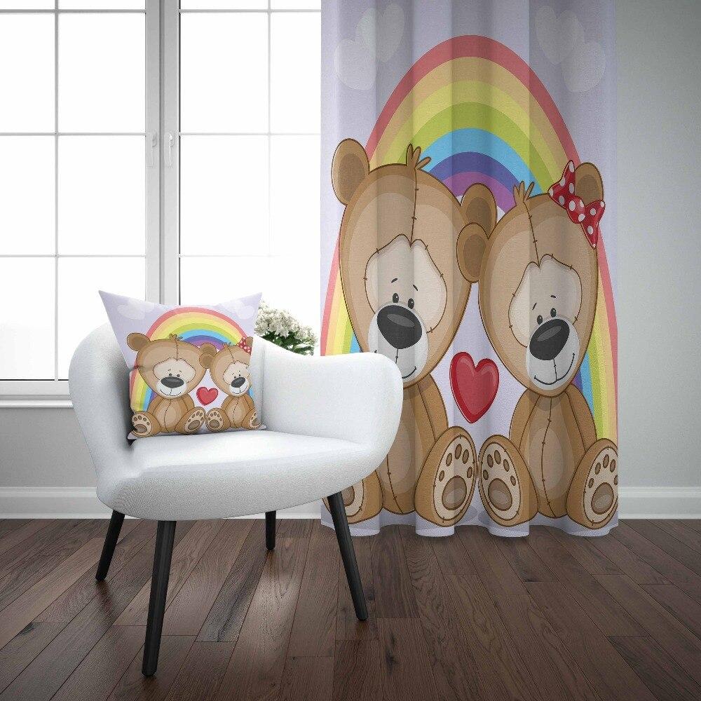 Sinon arc-en-ciel Teddy mignon ours rouge amour coeurs 3d impression enfants bébé enfants fenêtre panneau ensemble rideau combiner cadeau taie d'oreiller